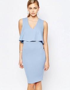 Платье миди 2 в 1 с сетчатой вставкой на талии TFNC - Синий