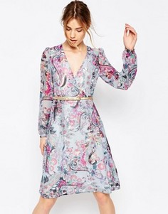 Платье с длинными рукавами, принтом пейсли и запахом Uttam Boutique - Синий