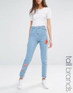 Джинсы в винтажном стиле с вышивкой Noisy May Tall - Синий