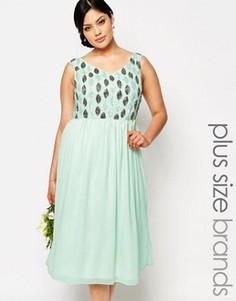 Платье миди для выпускного с отделкой на лифе Lovedrobe Luxe - Зеленый