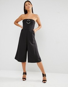 Комбинезон бандо с широкими штанинами Lavish Alice - Черный