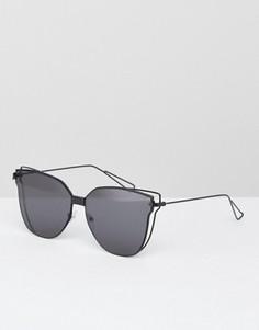 Черные солнцезащитные очки кошачий глаз с плоскими стеклами AJ Morgan - Черный