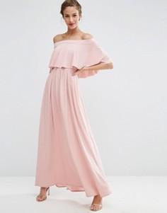 Платье макси с открытыми плечами и оборкой ASOS WEDDING - Розовый