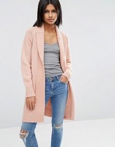 Пальто-кардиган со спинкой в рубчик ASOS - Розовый