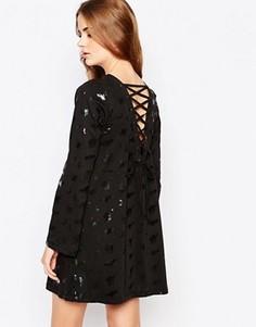 Платье с расклешенными рукавами и шнуровкой сзади Worn By Halloween Witches - Черный