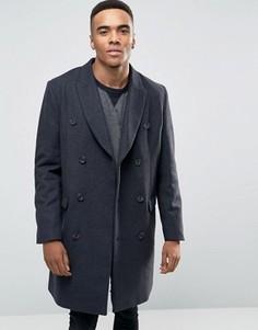 Темно-серое двубортное пальто с добавлением шерсти ASOS - Серый