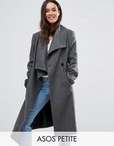 Пальто-трапеция с добавлением шерсти с драпировкой ASOS PETITE - Серый