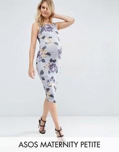 Облегающее платье миди для беременных с цветочным принтом ASOS Maternity PETITE - Мульти