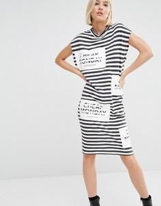 Платье-футболка в полоску с логотипом Cheap Monday - Мульти