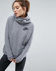 Серое худи через голову с небольшим логотипом Nike - Серый