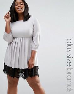 Платье с плиссированной юбкой и кружевной кромкой Praslin Plus - Серый