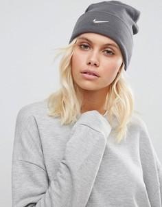 Шапка-бини с логотипом-галочкой Nike - Серый