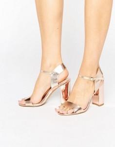 Босоножки металлик на высоком каблуке New Look - Золотой