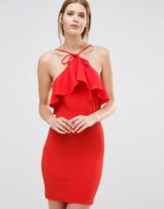Платье мини с халтером и оборкой Oh My Love - Красный