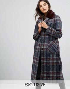 Длинное пальто с воротником из искусственного меха Helene Berman - Фиолетовый
