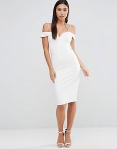 Платье миди с широким вырезом и шнурками-бретельками Rare - Белый