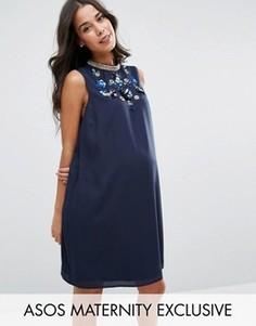 Платье с отделкой на горловине ASOS Maternity - Синий