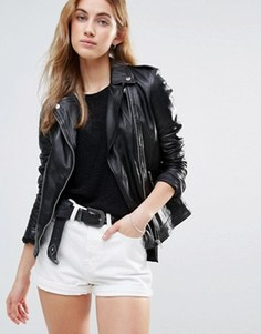 Классическая кожаная байкерская куртка Muubaa - Черный