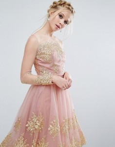 Кружевной топ с вышивкой металлик Chi Chi London Premium - Розовый