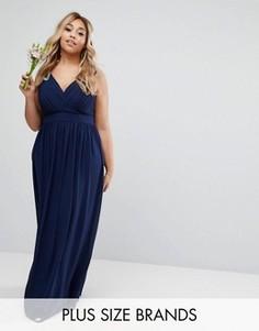 Декорированное платье макси с запахом TFNC Plus Wedding - Темно-синий