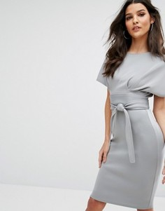 Платье миди с рукавами-кимоно и поясом на талии City Goddess - Серый