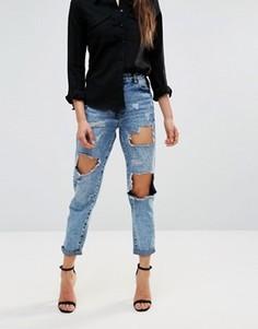 Рваные джинсы бойфренда Parisian - Синий