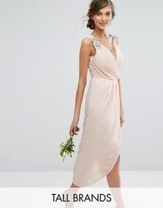 Декорированное платье миди с запахом TFNC Tall Wedding - Бежевый