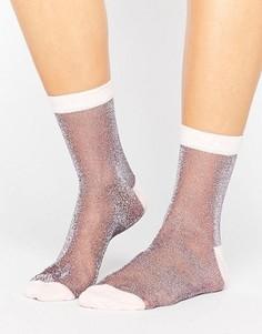 Полупрозрачные носки с блестками ASOS - Фиолетовый