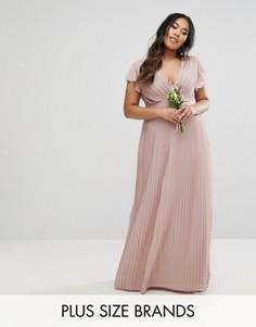 Платье макси с V-образным вырезом и рукавами-оборками TFNC Plus Wedding - Фиолетовый