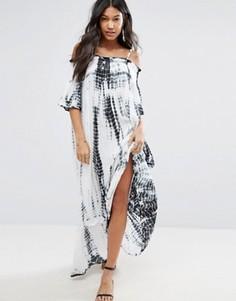 Пляжное платье макси с открытыми плечами и принтом тай-дай Anmol - Синий