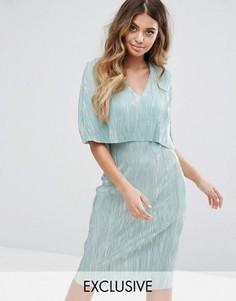 Плиссированное платье миди с верхним слоем в стиле кейпа Club L - Зеленый