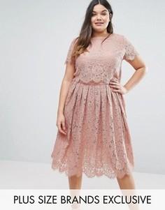 Двухслойное кружевное платье с короткими рукавами Truly You - Розовый