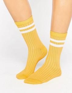 Носки в рубчик с полосками ASOS - Желтый