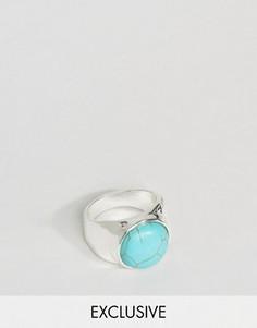 Серебристое кольцо с бирюзой DesignB London - Серебряный