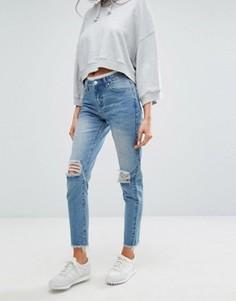 Джинсы в винтажном стиле с высокой талией Boohoo - Синий