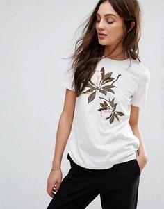 Трикотажная футболка с цветочной вышивкой Y.A.S - Белый