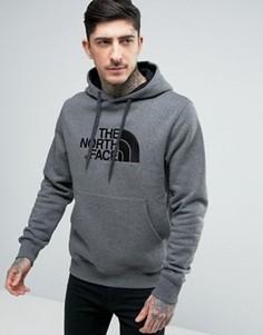 Серое меланжевое худи с большим логотипом The North Face Drew Peak - Серый