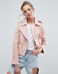 Замшевая байкерская куртка ASOS - Розовый