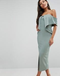 Платье миди бандо Lavish Alice - Зеленый