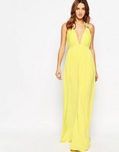 Платье макси с глубоким декольте Forever Unique Cindie - Желтый
