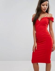 Платье миди с открытыми плечами Rare London - Красный