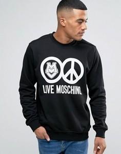 Черный свитшот с принтом логотипа Love Moschino - Черный