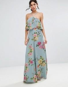 Комбинезон с широкими штанинами и цветочным принтом ASOS - Серый
