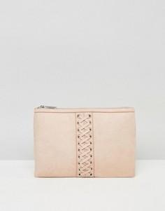 Клатч в корсетном стиле с застежкой на молнию сверху LAMODA - Розовый