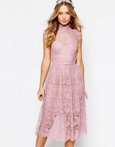Кружевное платье с цветочным узором Body Frock Wedding - Розовый
