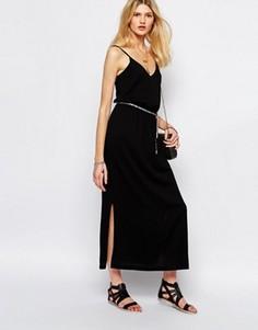 Черное платье макси с завязкой Sessun - Черный