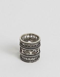 Серебристое кольцо с вырезами ASOS - Серебряный