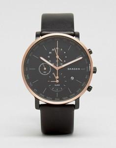 Часы с хронографом и черным кожаным ремешком Skagen HagenSKW6300 - Черный
