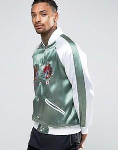 Бомбер с принтом на спине и вышивкой Hype Souvenir - Зеленый