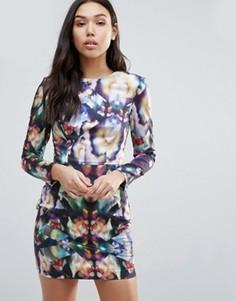 Облегающее платье с длинными рукавами и принтом Talulah Just For Tonight - Мульти